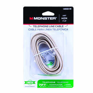 Monster Cable  Just Hook It Up  7 ft. L Ivory  Modular Telephone Line Cable