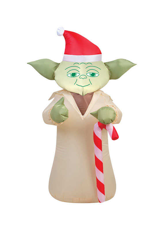 Gemmy  Airblown  Star Wars Yoda with Candycane  Christmas Inflatable  Multicolored  Fabric  1 pk