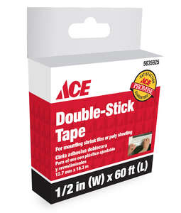 Ace  White  Indoor  Shrink Film Mounting Tape  1/2 in. W x 54 ft. L
