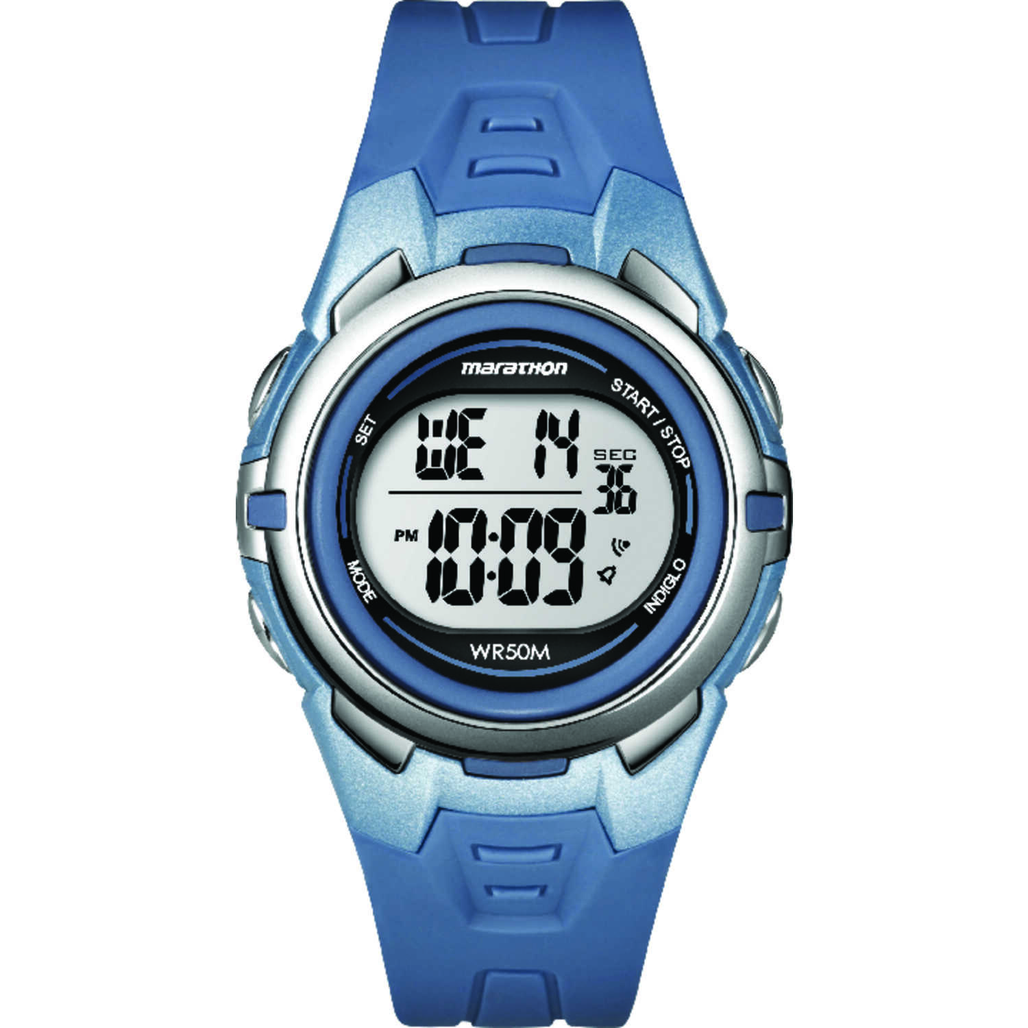 Timex  Marathon  Unisex  Round  Blue  Watch  Digital  Resin  Water Resistant