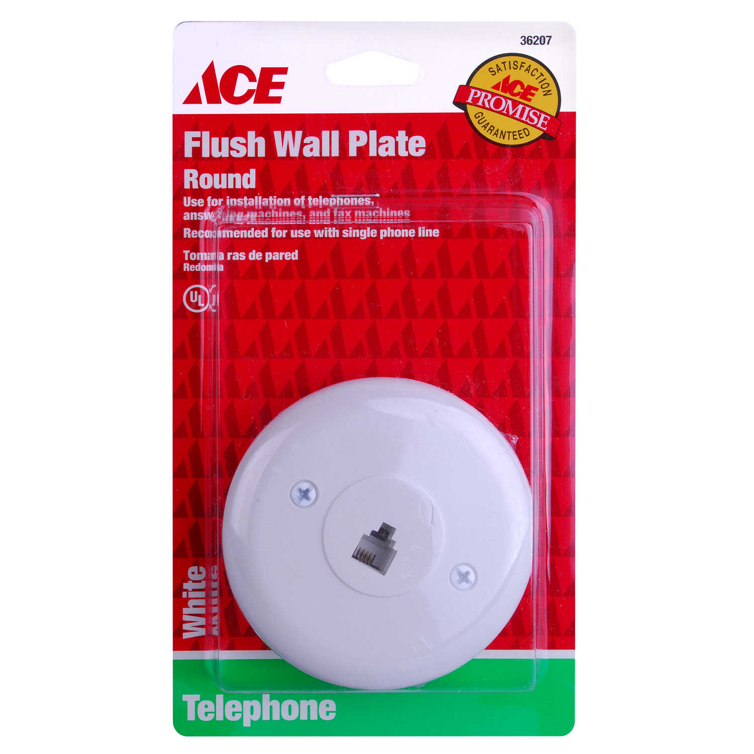 Ace  White  1 gang Plastic  Coaxial  Wall Plate  1 pk