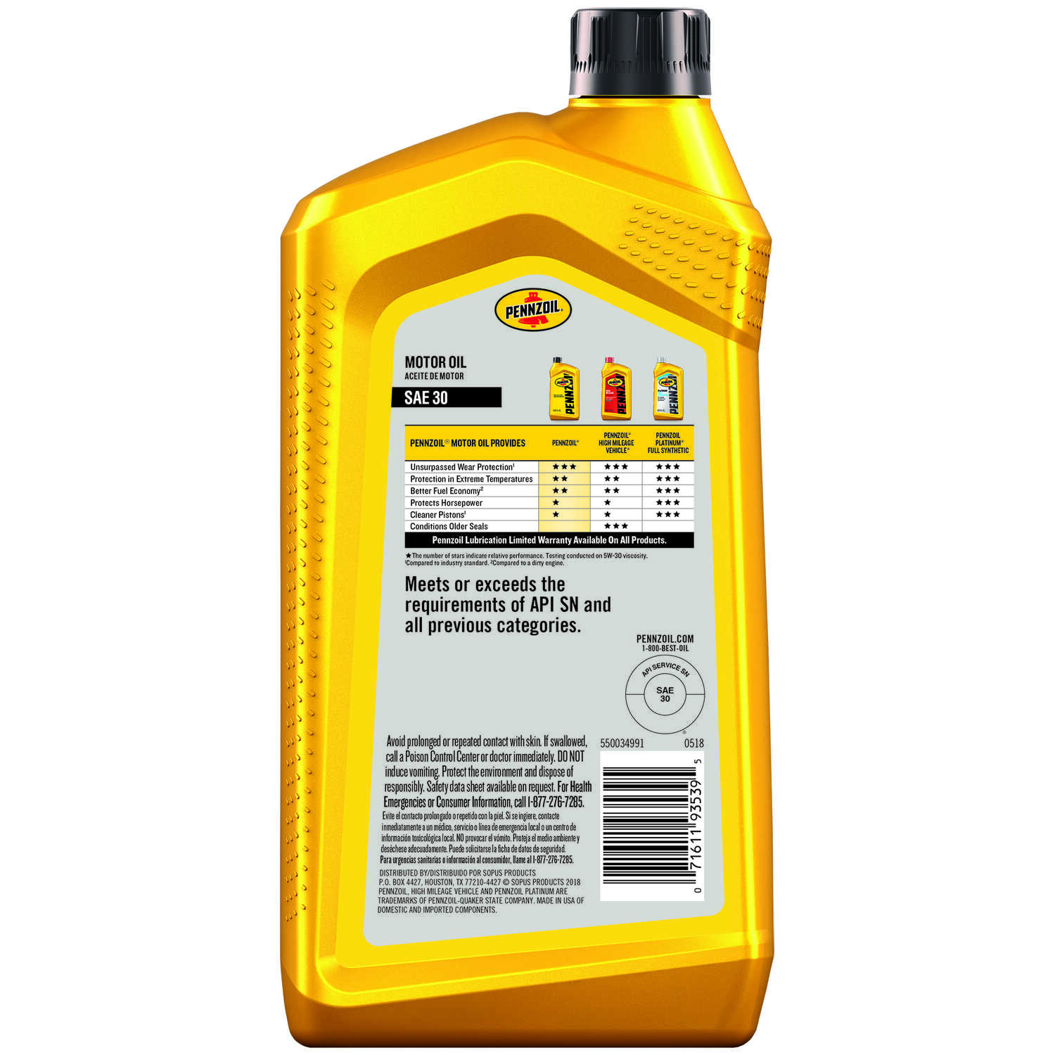 PENNZOIL  HD-30  4 Cycle Engine  Heavy Duty  Motor Oil  1 qt.