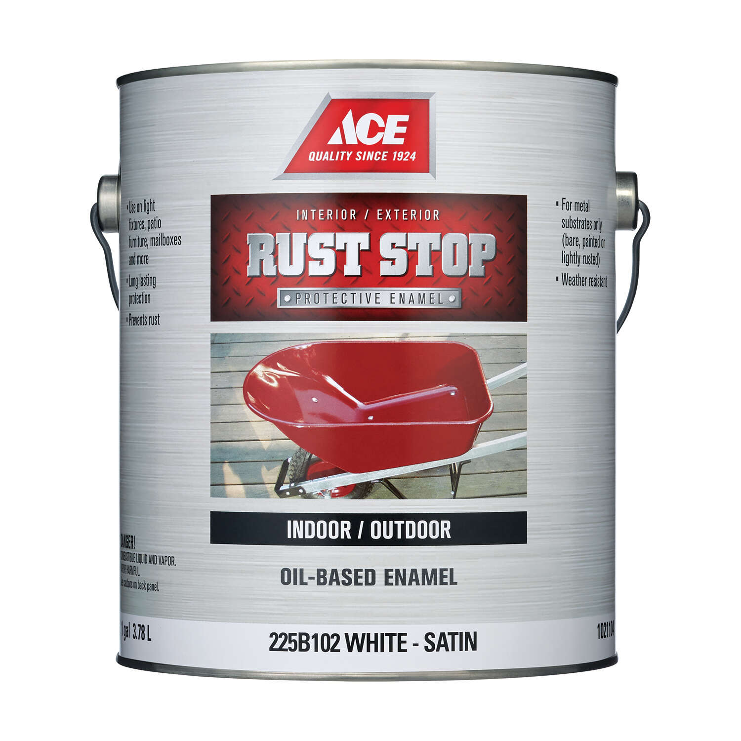 Ace Rust Stop Indoor and Outdoor Satin White Oil-Based Enamel Rust Preventative Paint 1 gal.