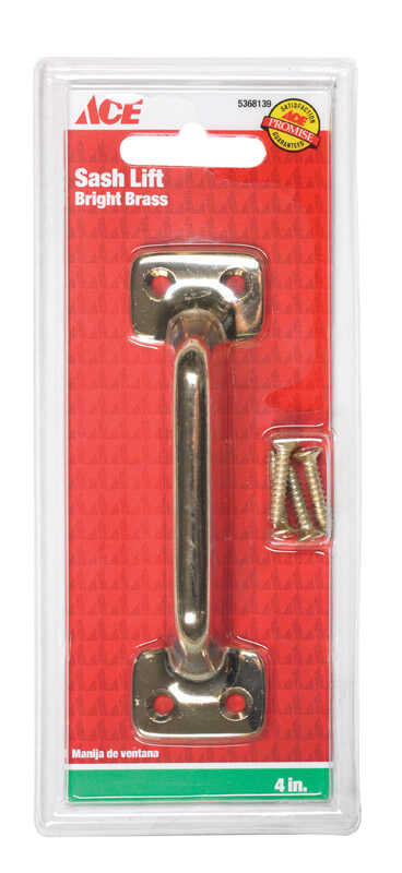 Ace  4 in. L Bright  Brass  Universal  Sash Lift Handle  1 pk