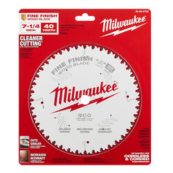Milwaukee  7-1/4 in. Dia. x 5/8 in.  Fine Finish  Metal  Circular Saw Blade  40 teeth 1 pc.