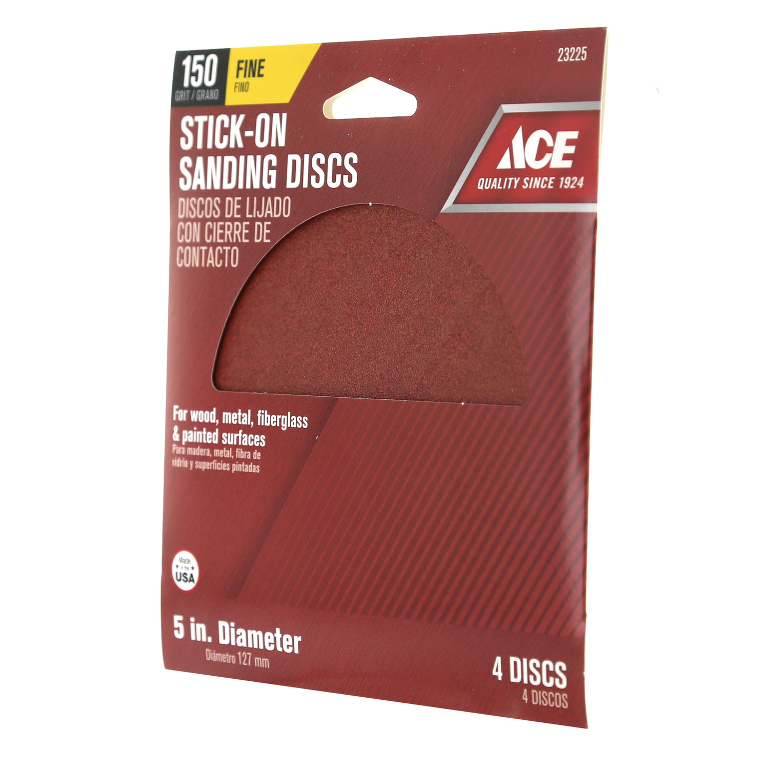 Ace  Aluminum Oxide  Adhesive  5 in. Fine  4 pk 150 Grit Sanding Disc