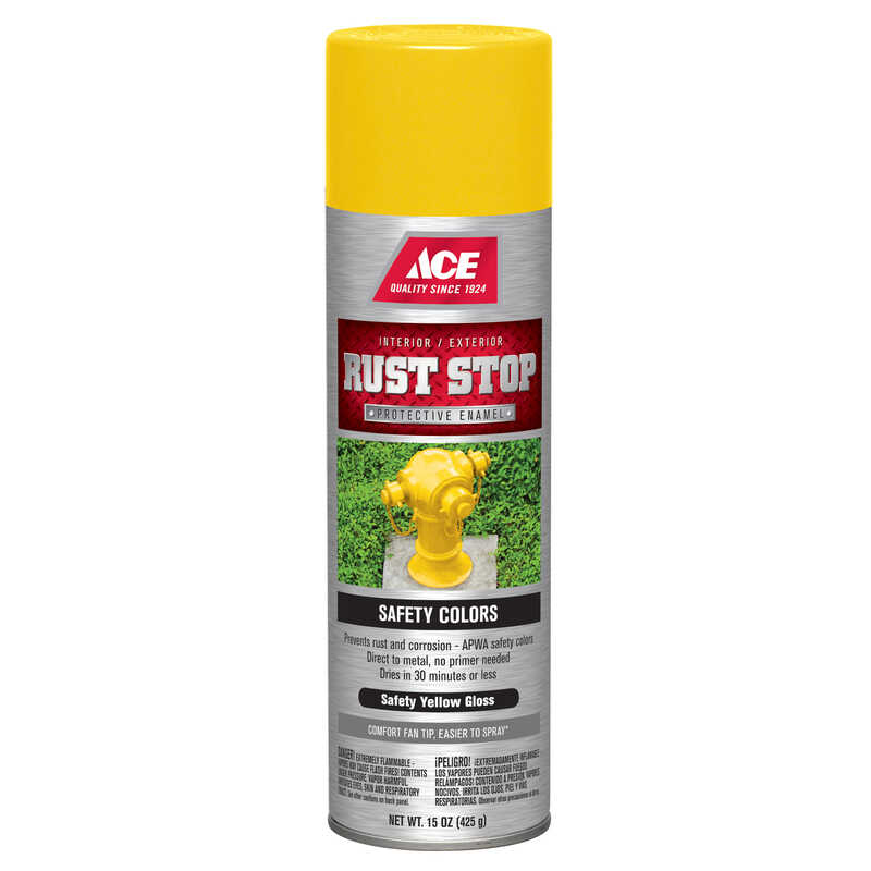 Ace  Rust Stop  Gloss  Safety Yellow  Spray Paint  15 oz.