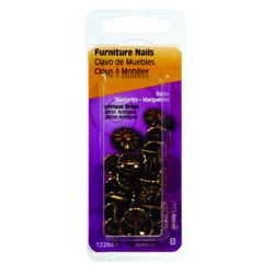 HILLMAN  No. 64   Antique Brass  Brass  Furniture Nails  25 pk