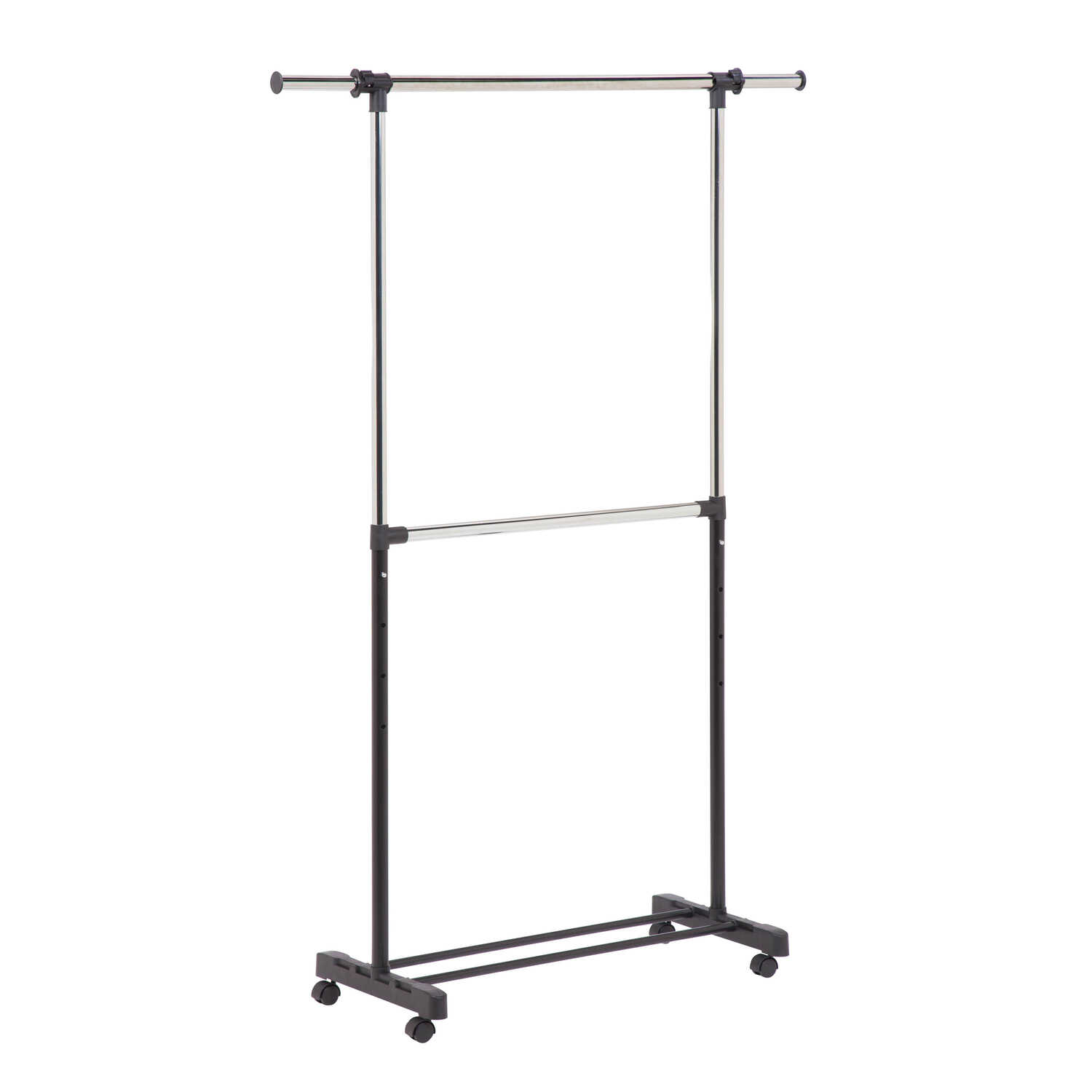 Honey Can Do  73 in. H x 60 in. W x 17 in. L Chrome  Double Bar Garment Rack  1 pk