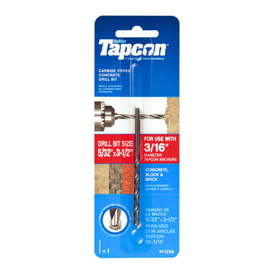 Tapcon  5/32 in.  x 3-1/2 in. L Carbide Tipped  Concrete Drill Bit  1 pc.