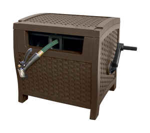 Suncast  Smart Tube Hose Hideaway  175 ft. Stationary  Hideaway  Hose Cabinet  Brown