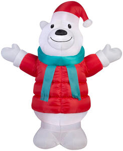 Gemmy  Polar Bear  Christmas Inflatable  Multicolored  Fabric  1 pk