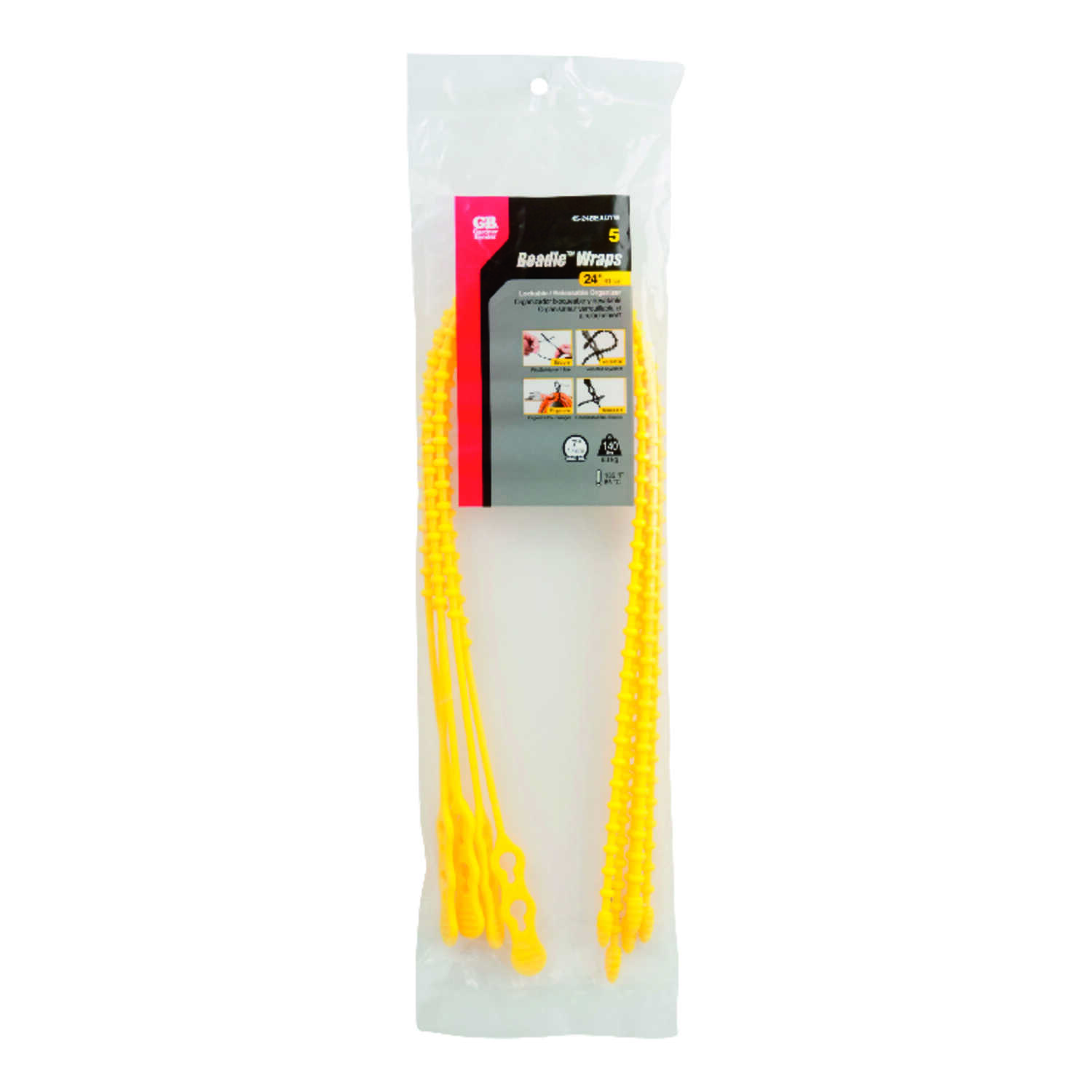 Gardner Bender  24 in. L Yellow  Beaded Cable Tie  5 pk