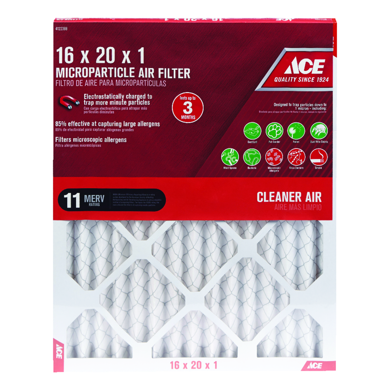 Ace  20 in. H x 16 in. W x 1 in. D Pleated  Microparticle Air Filter