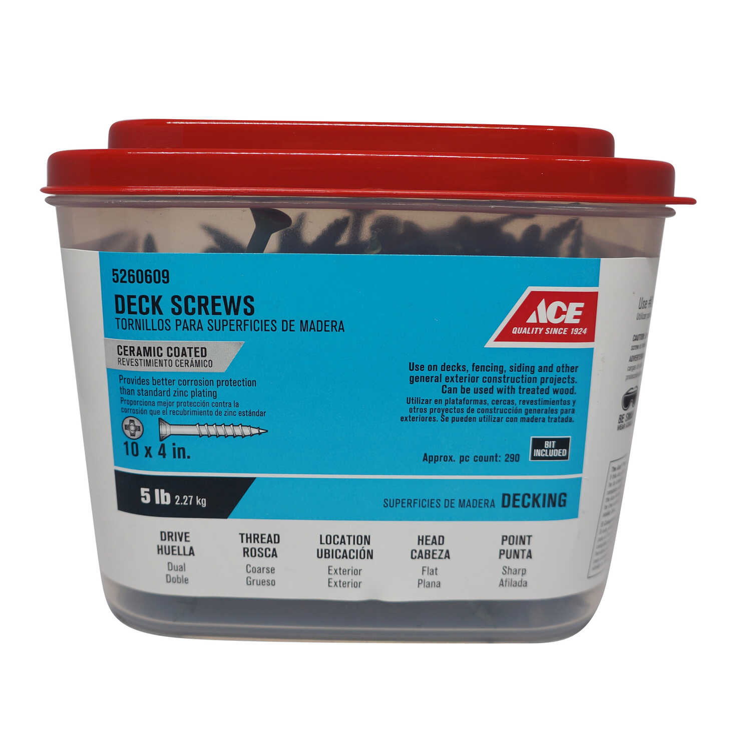 Ace  No. 10   x 4 in. L Phillips  Flat Head Ceramic Coated  Steel  Premium Deck Screws  5 lb. 290 pk