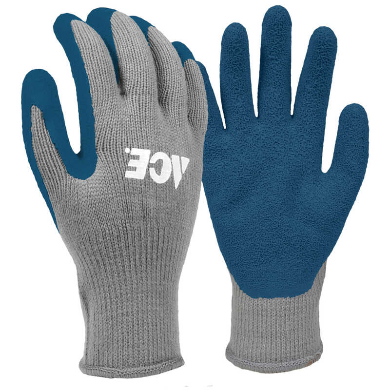 Ace  L  Latex Coated  Winter  Blue/Gray  Gloves
