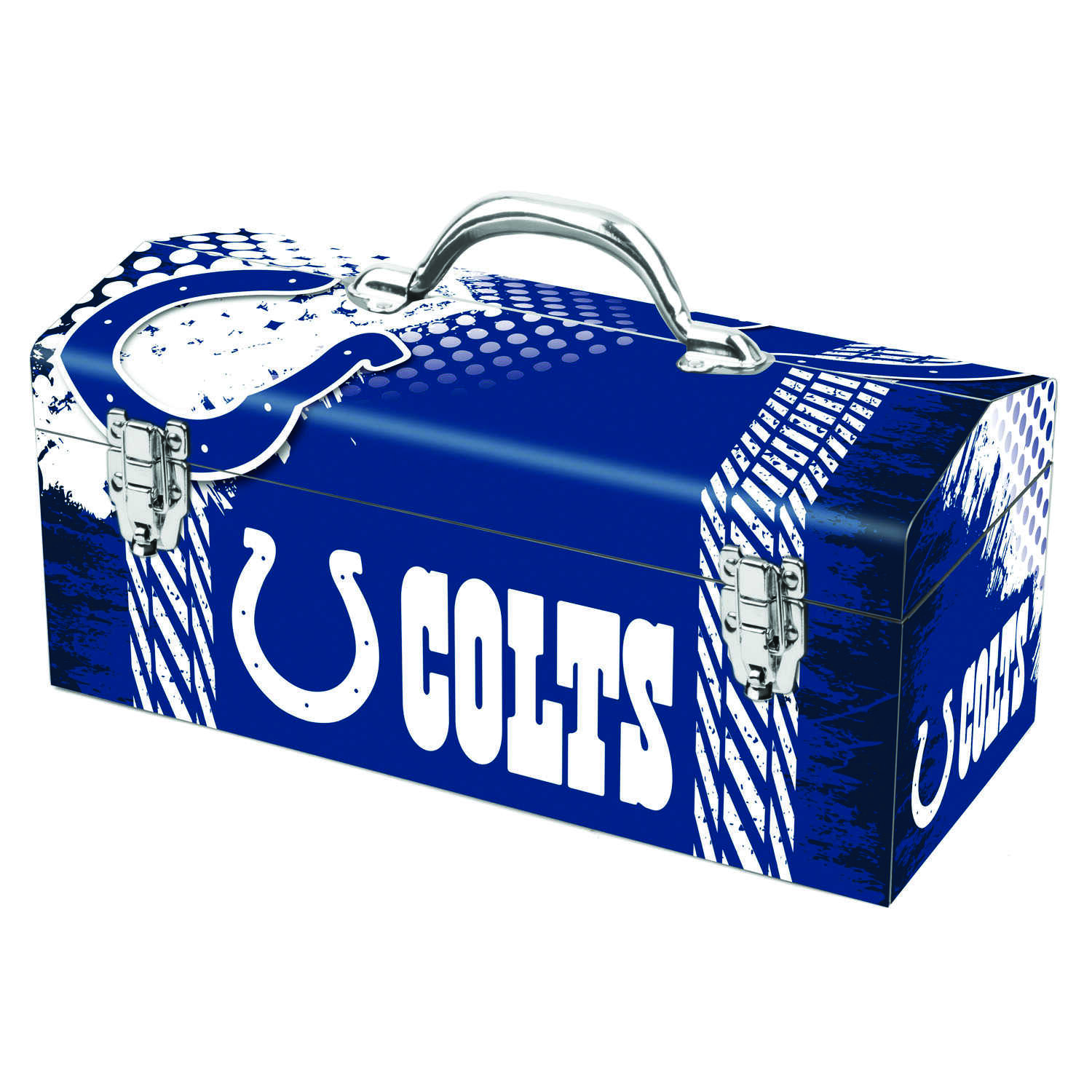 Sainty International  16.25 in. Steel  Indianapolis Colts  Art Deco Tool Box  7.1 in. W x 7.75 in. H