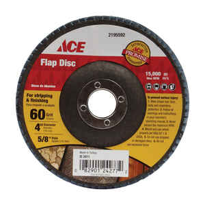 Ace  4 in. Dia. x 5/8 in.   Aluminum Oxide  Flap Disc  60 Grit Coarse  1 pc.