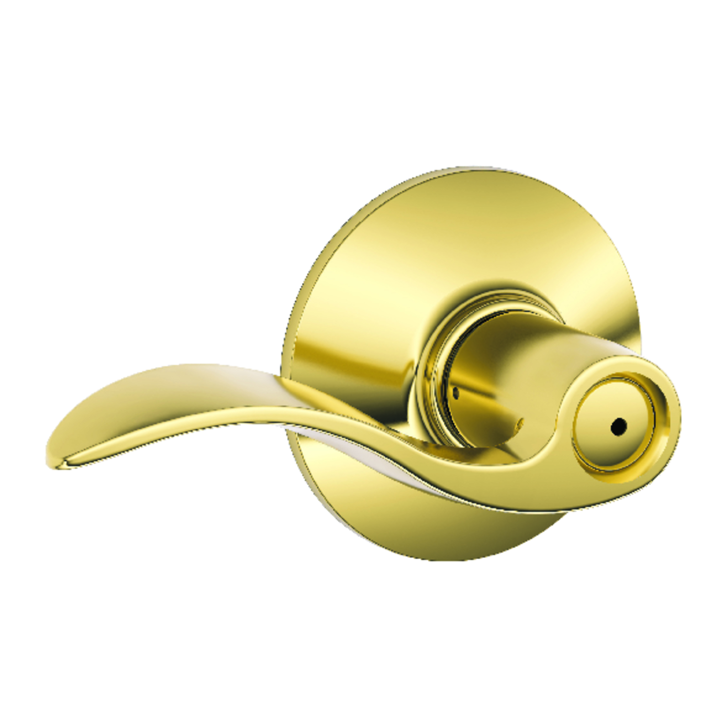 Schlage  Accent  Bright Brass  Steel  ANSI Grade 2  1-3/4 in. Privacy Lockset