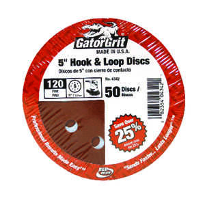 Gator  5 in. Aluminum Oxide  Sanding Disc  Fine  50 pk Hook and Loop  120 Grit