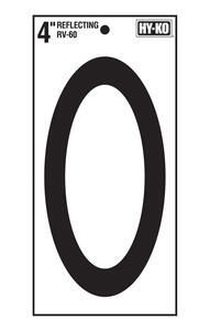 Hy-Ko  4 in. Reflective Black  Vinyl  Number  0  Self-Adhesive  1 pc.