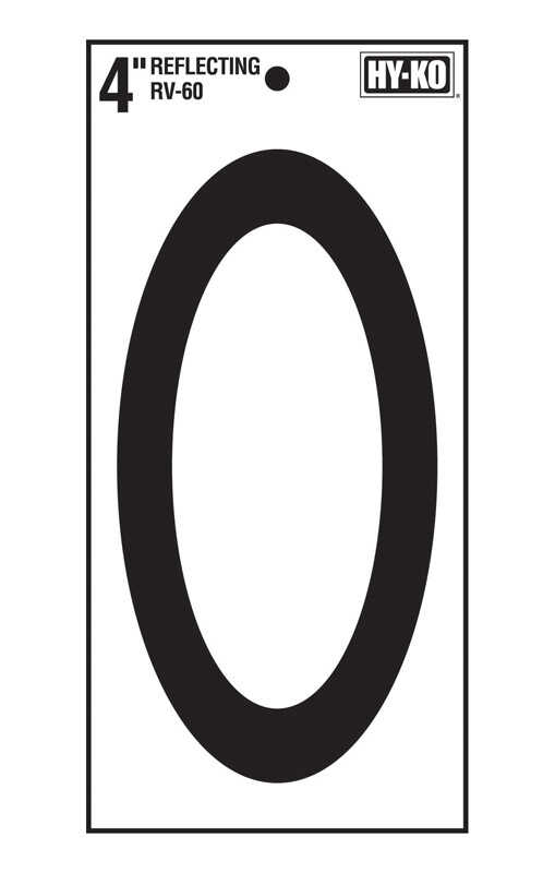 Hy-Ko  4 in. Reflective Vinyl  Black  0  Number  Self-Adhesive