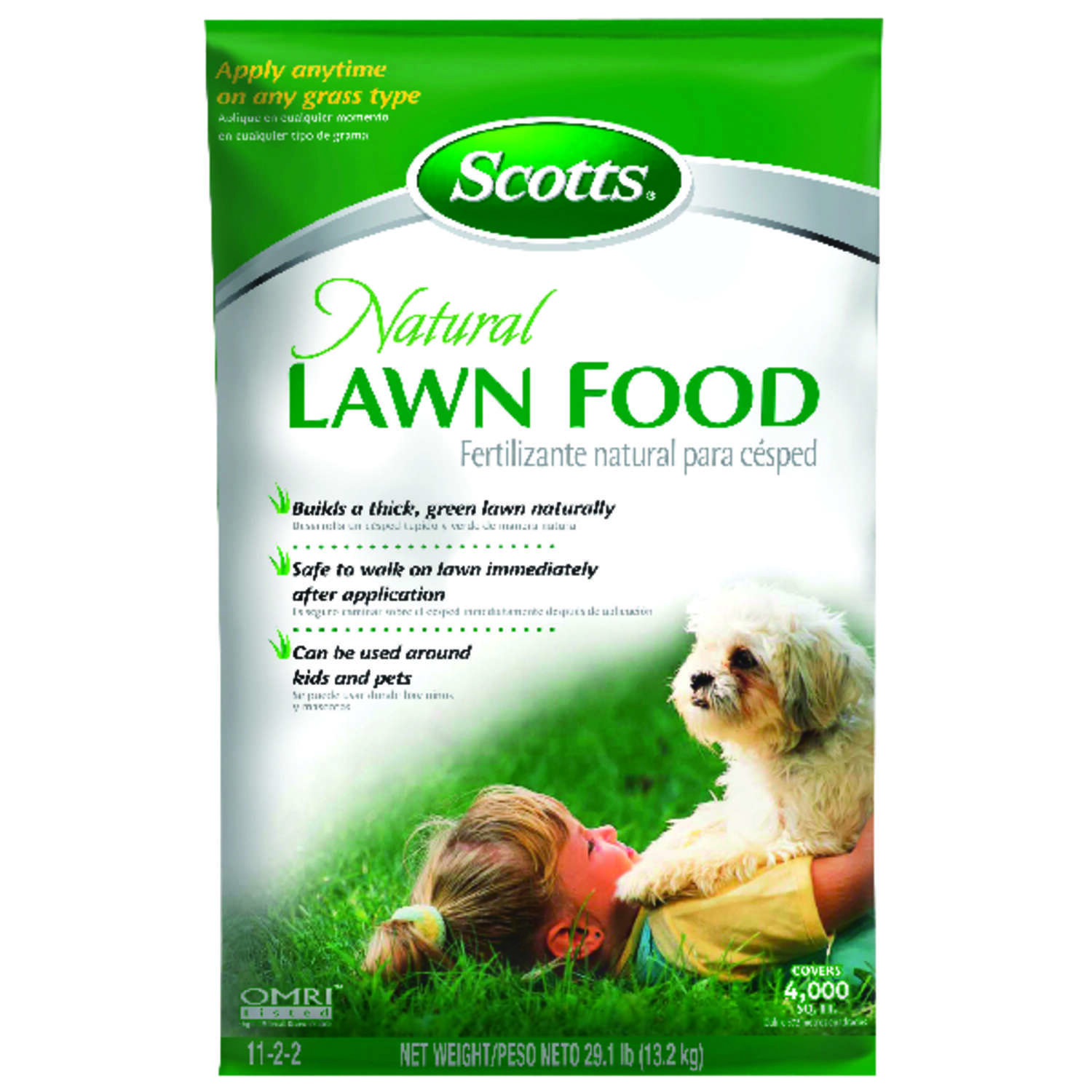 Scotts  Natural  Organic 11-2-2  Lawn Food  For All Grass Types 29.5 lb. 4000 sq. ft.
