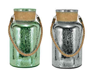 Mark Feldstein  10 in. H Mercury Glass  Canisters with Jute Handle  Sage