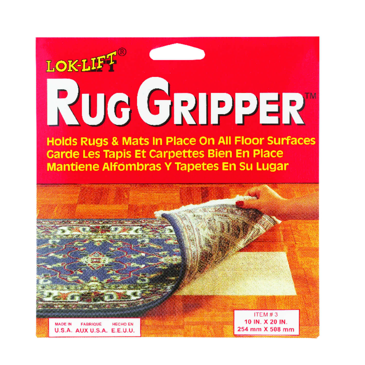 Lok-Lift  10 in. W x 20 in. L Reversible Scrim  Indoor  Rug Gripper