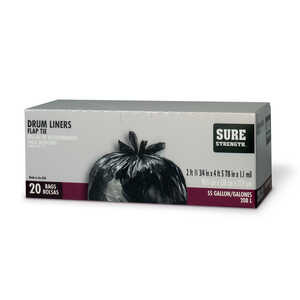 Sure Strength  55 gal. Drum Liner  Flap Tie  20 pk