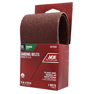 Ace  24 in. L x 3 in. W Aluminum Oxide  Sanding Belt  50 Grit Coarse  2 pc.