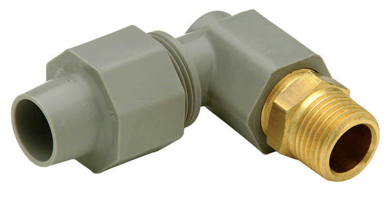 Zurn  Qest  1/2 in. CTS   x 3/8 in. Dia. MPT  Pex Elbow Adapter  Brass/Polyethylene