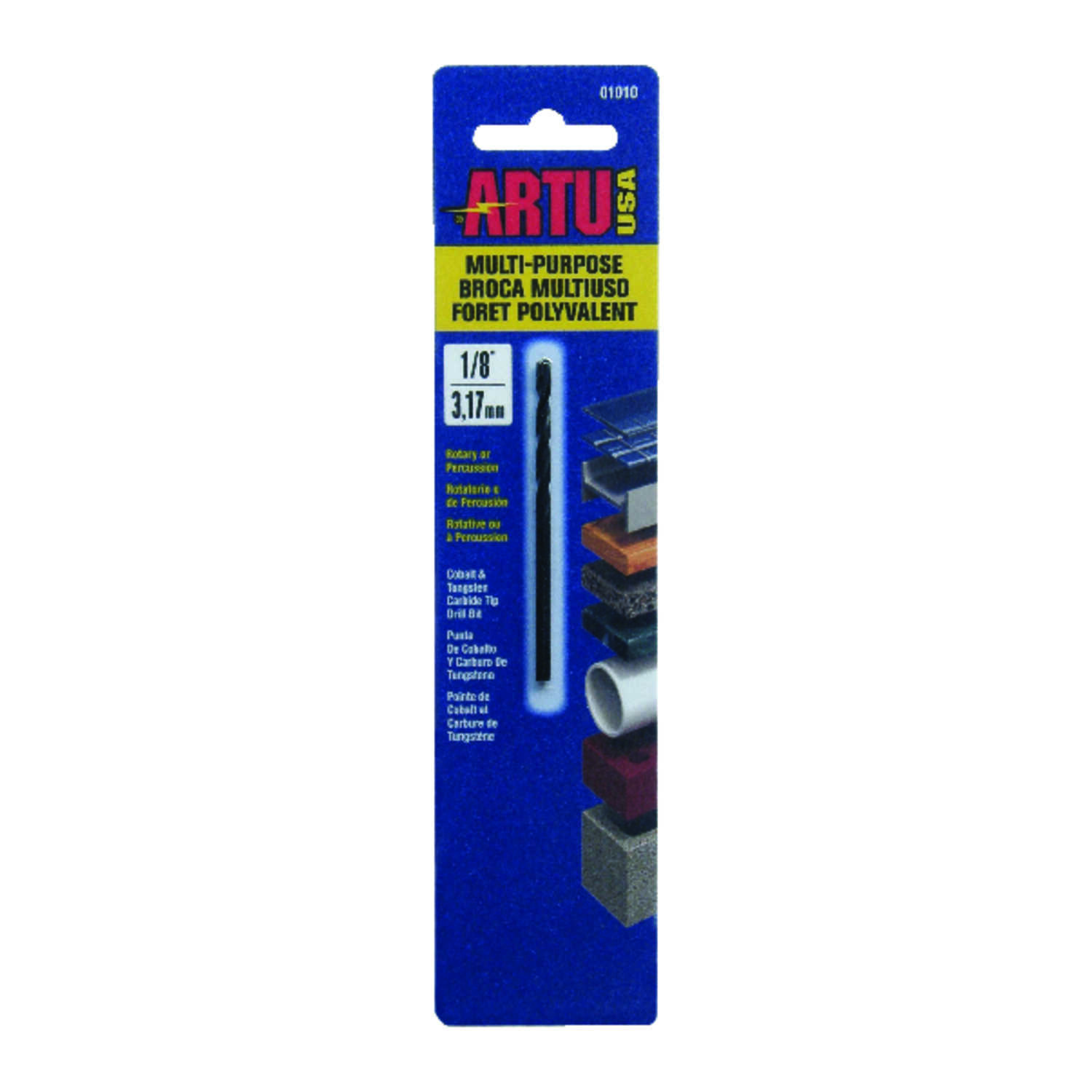 ARTU  1/8 in. Dia. x 2-5/8 in. L Tungsten Carbide Tipped  General Purpose Drill Bit  1/8 in. Round S