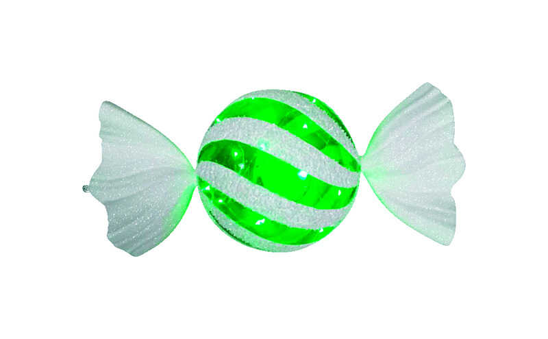 Celebrations  LED Striped Candy  Christmas Decoration  Green/White  Plastic  1 pk