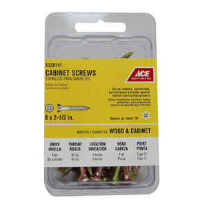 Ace  No. 9   x 2-1/2 in. L Star  Yellow Zinc-Plated  Cabinet Screws  50 pk