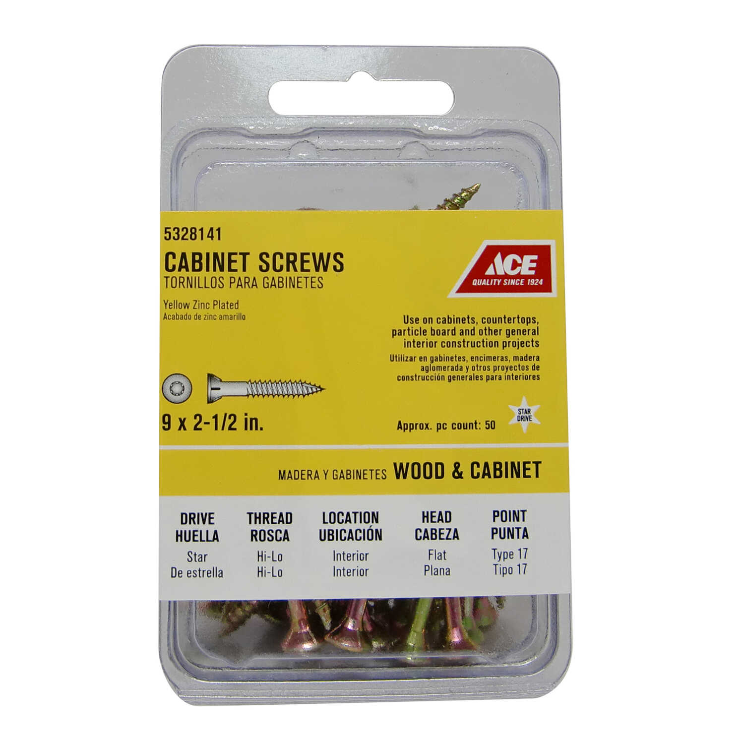 Ace  No. 9   x 2-1/2 in. L Star  Yellow Zinc-Plated  Steel  Cabinet Screws  50 pk Flat