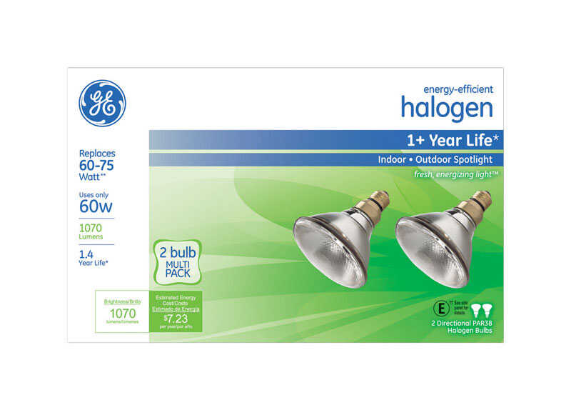 GE Lighting  60 watts PAR38  Halogen Bulb  1070 lumens White  2 pk Spotlight  Medium Base (E26)