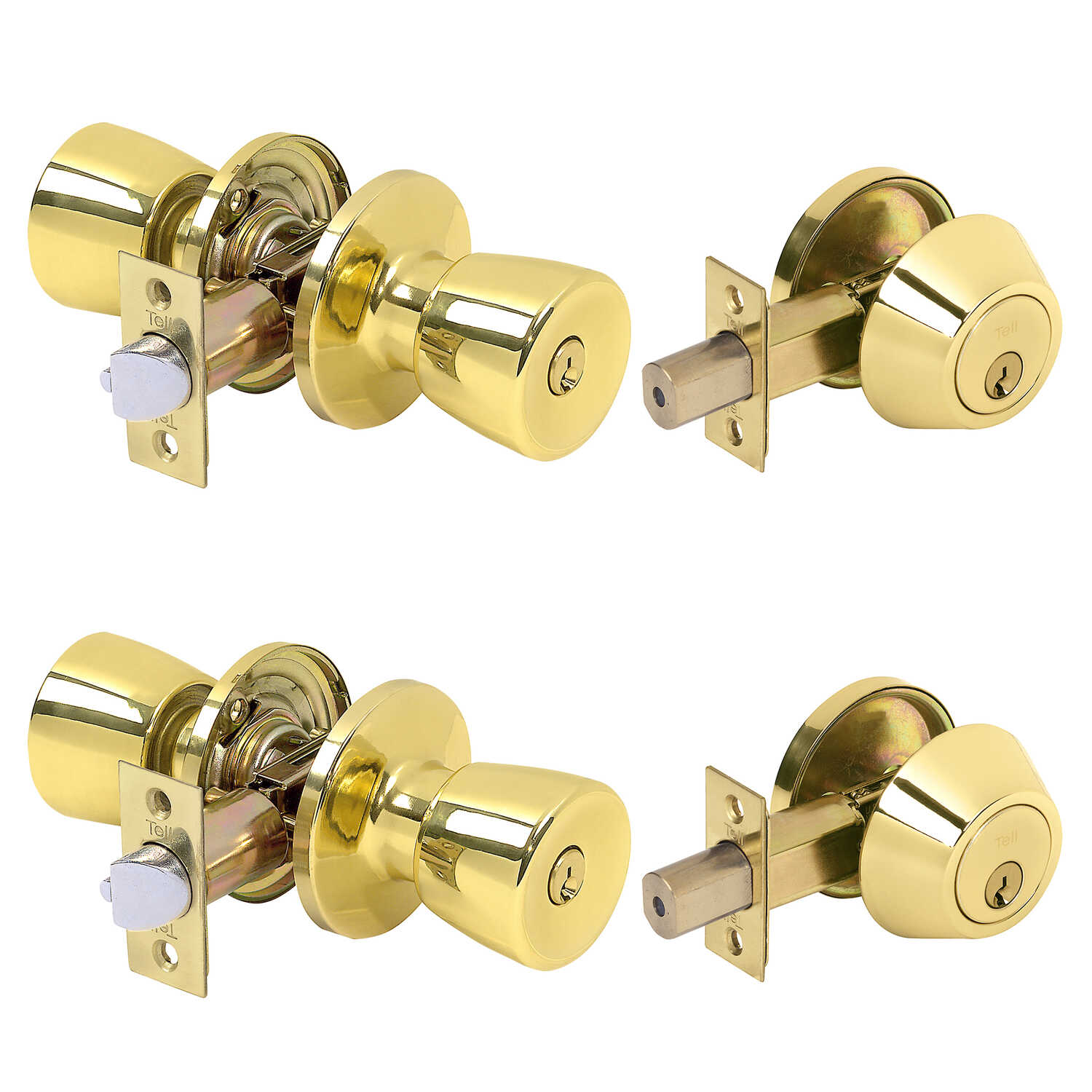 Tell  Double Pack  Bright Brass  Steel  Deadbolt and Entry Door Knob  ANSI Grade 3  1-3/4 in.