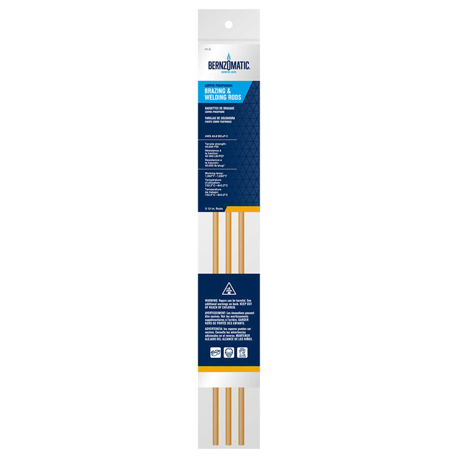 Bernzomatic  .20 in. Dia. x 12 in. L Other  Welding Rods  3 pk