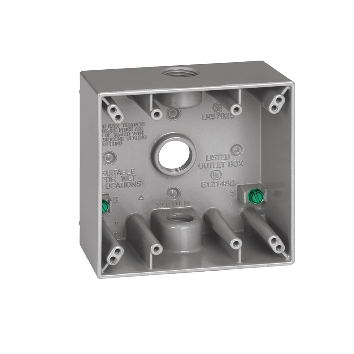 Sigma  4-1/2 in. 2 Gang  Aluminum  Gray  Square  Outlet Box