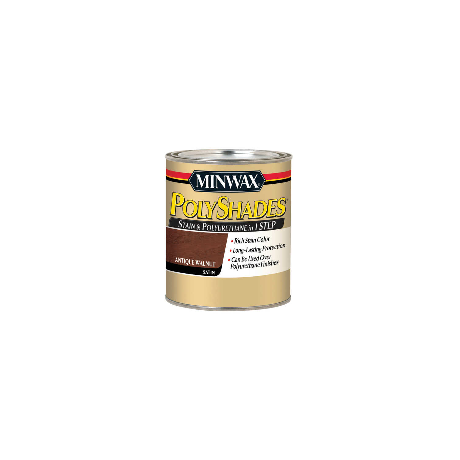 Minwax  PolyShades  Semi-Transparent  Satin  Antique Walnut  Oil-Based  Stain  0.5 pt.