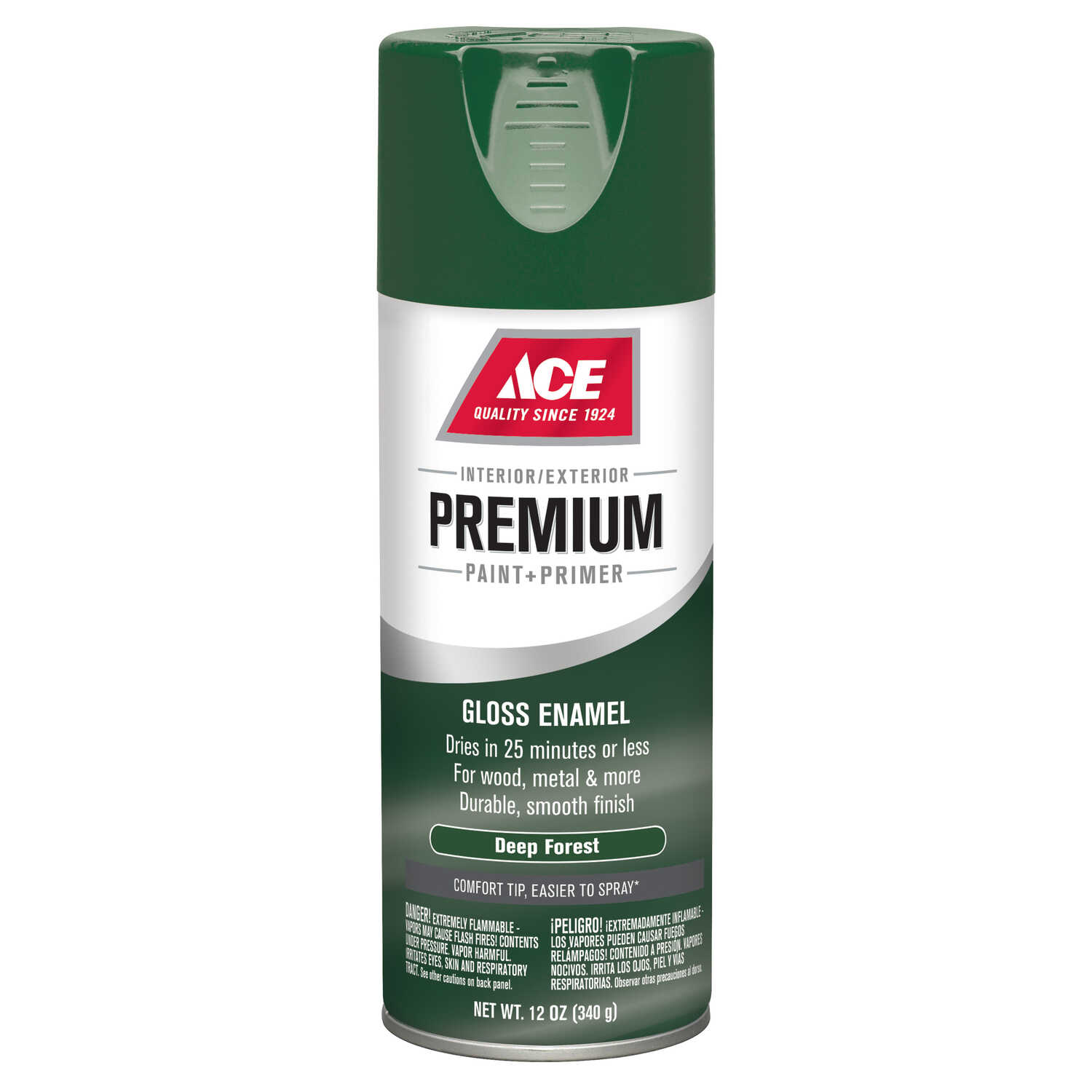 Ace  Premium  Gloss  Deep Forest  Paint and Primer Spray Paint  12 oz.