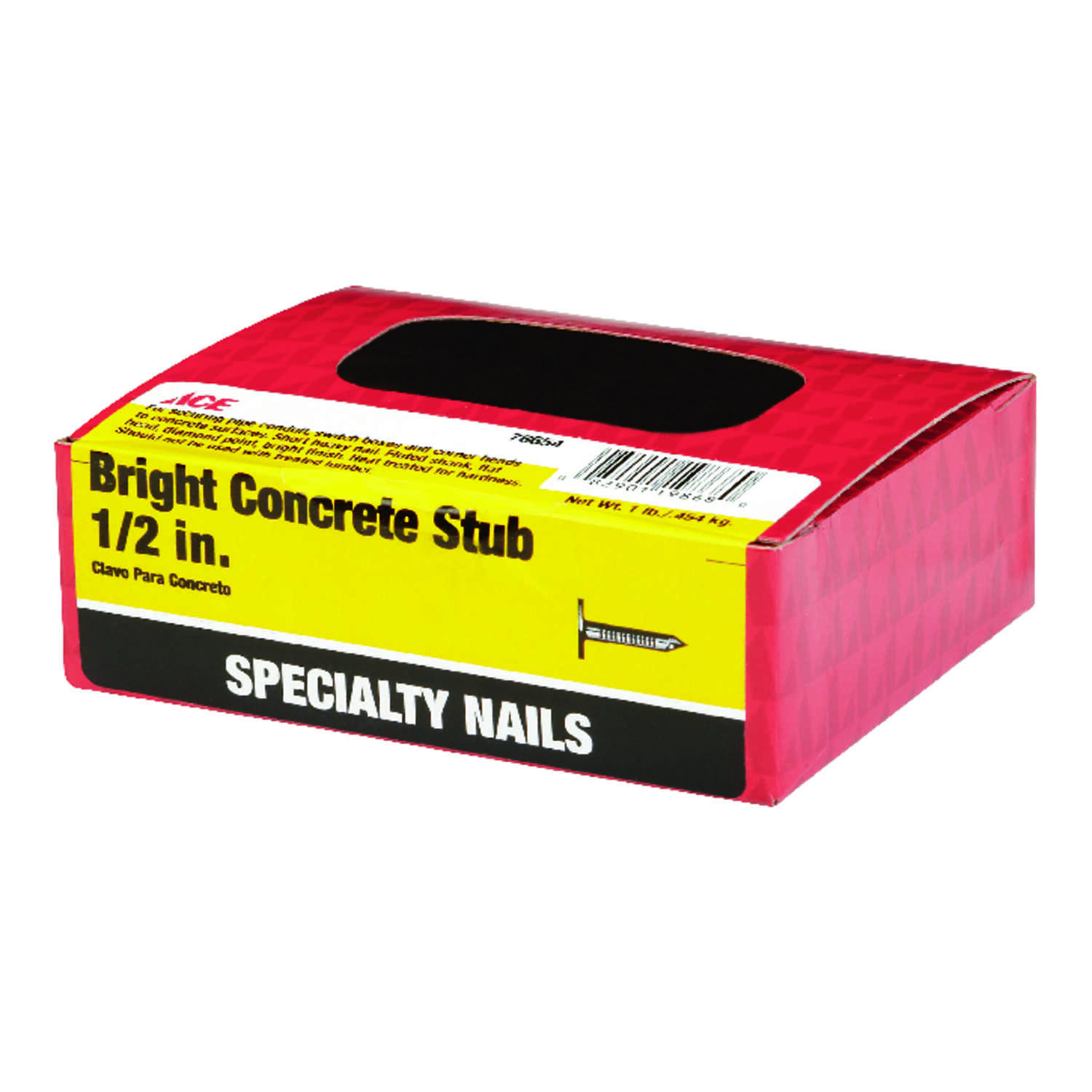 Ace  1/2 in. L Concrete  Bright  Nail  Fluted  Flat  1 lb.