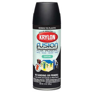 Krylon  Satin  Black  12 oz. Fusion Spray Paint