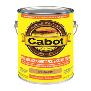 Cabot  Semi-Transparent  New Cedar  Oil-Based  Penetrating Oil  Deck and Siding Stain  1 gal.