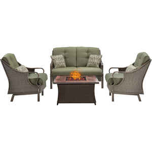 Hanover  Ventura  4 pc. Cocoa Stone  Steel  Wood Grain  Firepit Set  Meadow Green