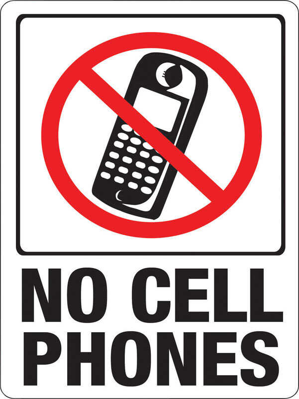 Hy-Ko  English  9 in. W x 12 in. H Sign  Plastic  No Cell Phones