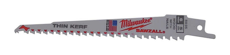 Milwaukee  SAWZALL  6 in. L x 1 in. W Bi-Metal  Thin Kerf  Reciprocating Saw Blade  5 TPI 5 pk