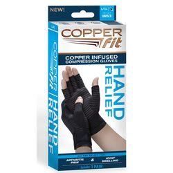 Copper Fit  Black  Compression Gloves  1 pk