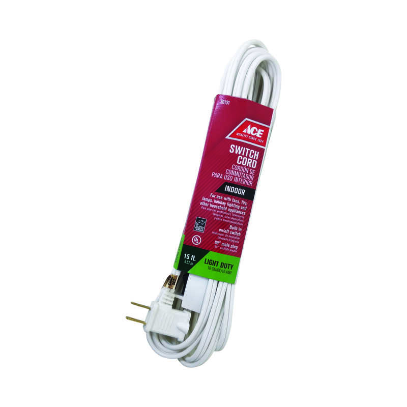Ace  Indoor  15 ft. L White  Extension Cord w/Switch  16/2 SPT-2